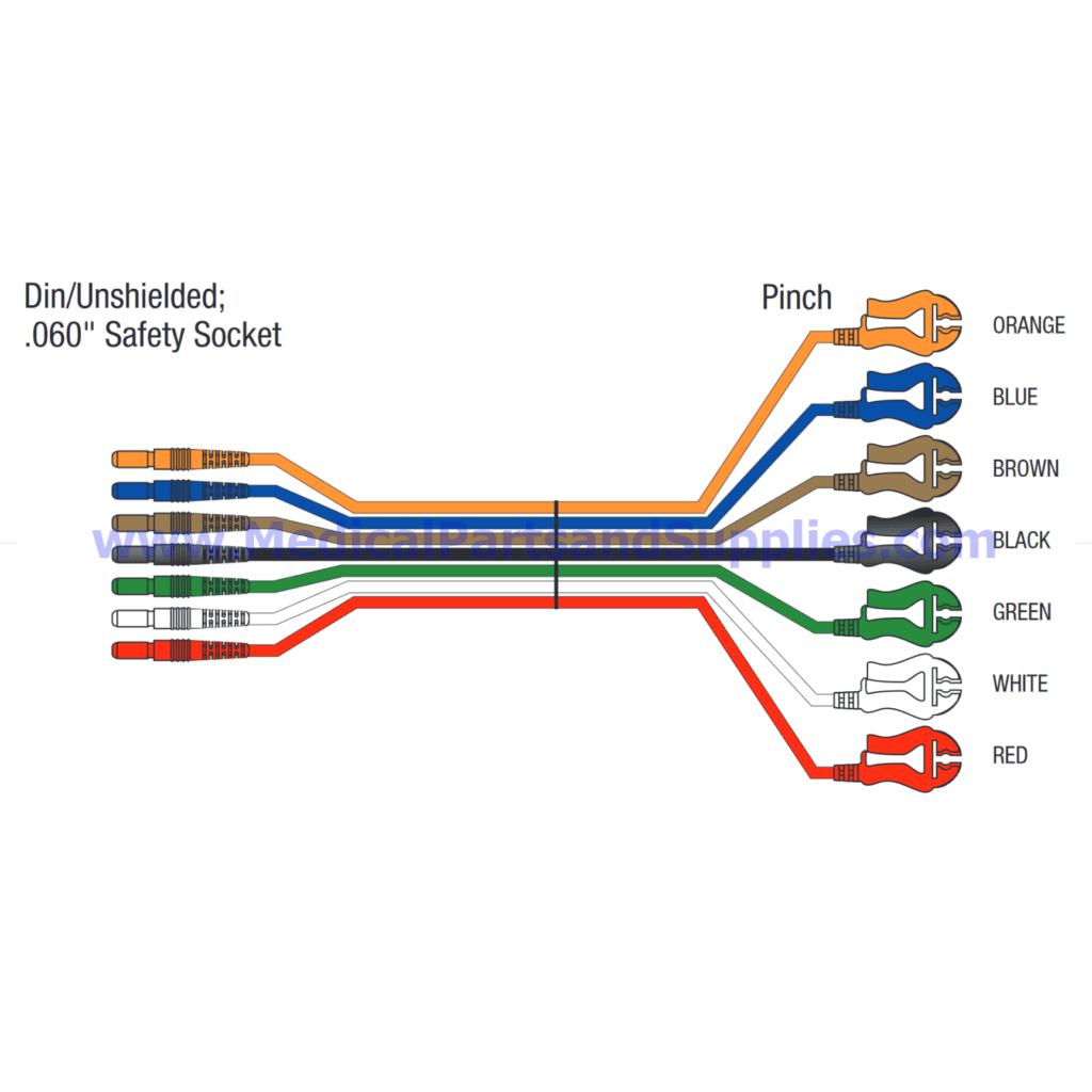 7 Leadwire Set - 24 Inch Din-Pinch (Reusable), Part LKM038