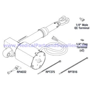 Back Actuator, Part MIA216 (OEM Part 002-0496-00)