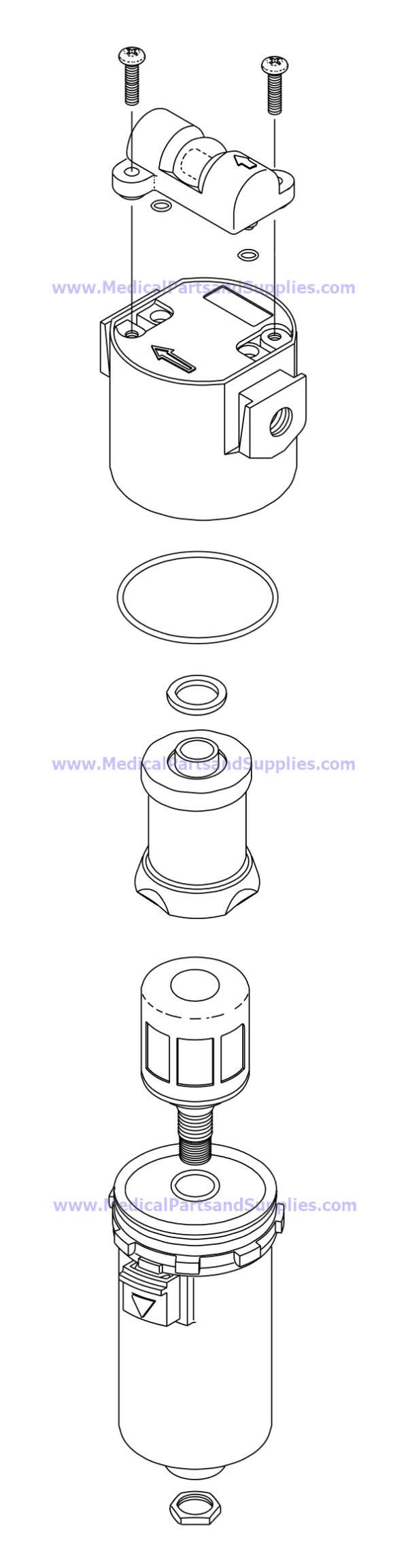 Coalescing Filter Assembly, Part CMA021 (OEM Parts ACA70305, 77005010, 62985200, and M16-03-FMO)