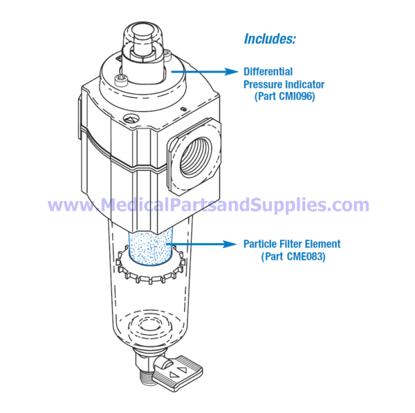Particle Filter Assembly for Dental Compressors, Part CMA082 (OEM Part 85617)