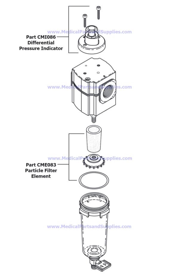 Particle Filter Assembly for Dental Compressors, Part CMA082 (OEM Part 85617)