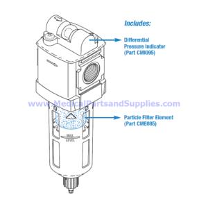 Particle Filter Assembly for Dental Compressors, Part CMA084 (OEM Part 86197)