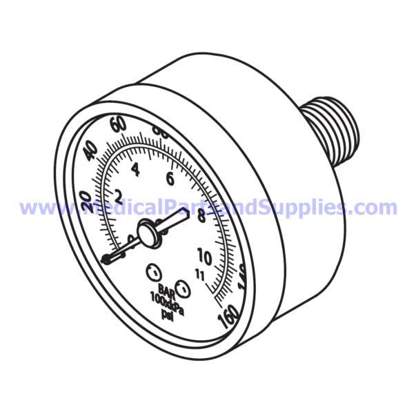 Pressure Gauge (160 PSI), Part CMG048 (OEM Part 60011)