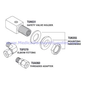 Safety Valve Holder for Tuttnauer® 220V Autoclaves, Part TUH031 (OEM Part CT841010)