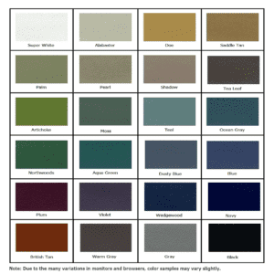 Hausted® Upholstery Color Chart