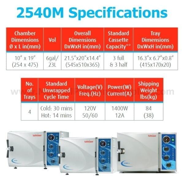 Tuttnauer 2540M Manual Autoclave Sterilizer